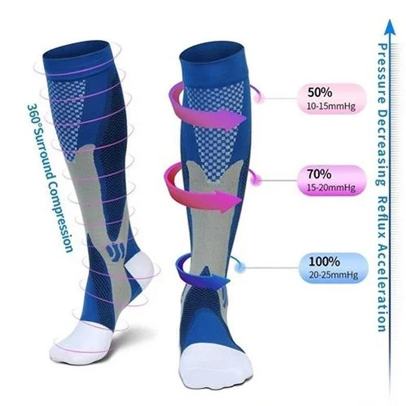 Компрессионные носки для мужчин, женщин и мужчин, подходят для футбола, спорта, против усталости, облегчения боли, до колен, черные Компресси...
