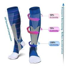 Men Women Compression Socks Fit For Football Sports Anti Fatigue Pain Relief Knee High Stockings Black Compression Socks 1 Pair pair of hot sale letter pattern football stockings athletic socks for men