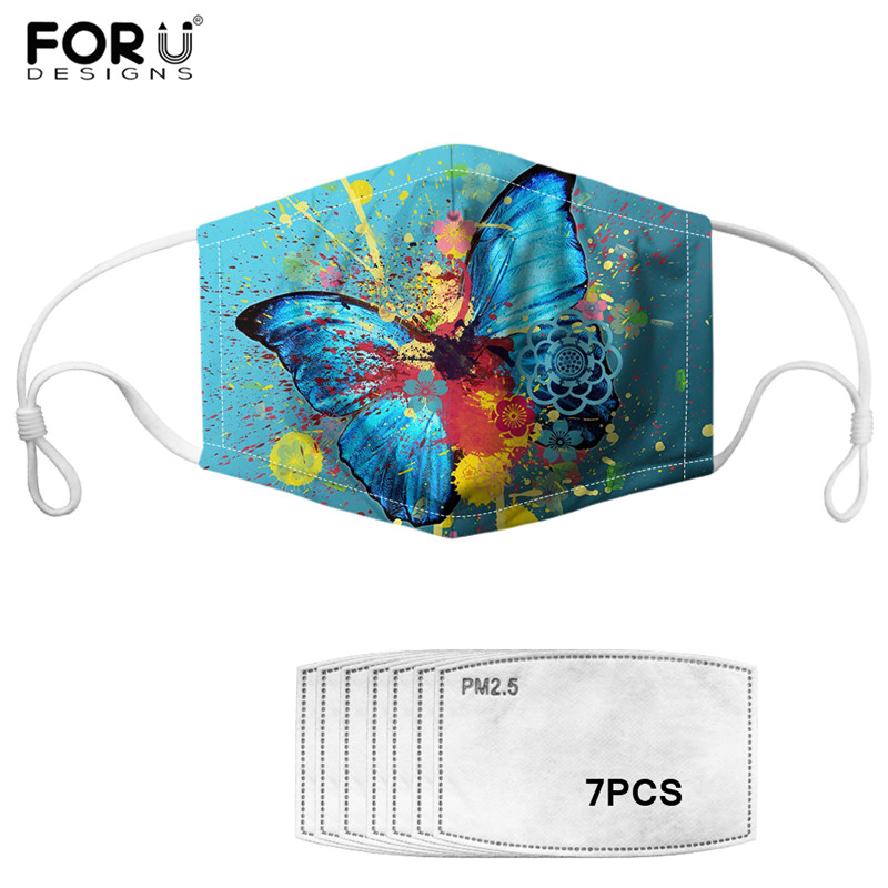 Beauty Butterfly Animals Pattern PM2.5 Mask With 7pcs Carbon Filter Blue Windproof Mouth-muffle Cozy Cotton Women/Men/kids Mask