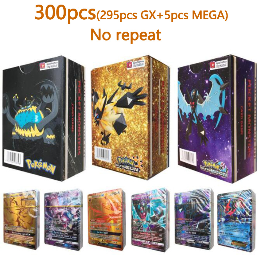 300 Pcs GX MEGA Shining TAKARA TOMY Cards Game Pokemon Battle Carte Trading Cards Game Children Toy