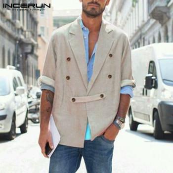 Moda z długim rękawem znosić INCERUN mężczyźni w stylu Vintage jednolity kolor marynarka z kołnierzykiem z klapami garnitur człowiek podwójne jednorzędowe guziki płaszcze Streetwear tanie i dobre opinie Poliester REGULAR CN (pochodzenie) Podwójne piersi Pełna Na co dzień Fashion Men Solid Color Blazers Khaki Grey S M L XL 2XL 3XL 4XL 5XL Plus Size