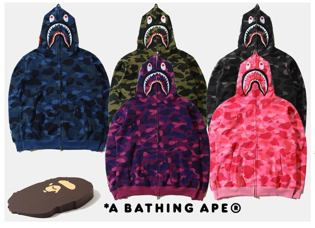 Douyin Men'S Wear Popular Brand Shark Camouflage Printing Plus Velvet Hoodie Men And Women Large Size Cardigan Coat