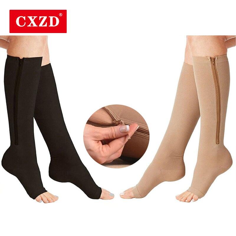 CXZD New Compression Socks Men Women Support Knee Zipper Socks Female Open Toe Thin Anti-Fatigue Stretchy Sox High Socks Unisex