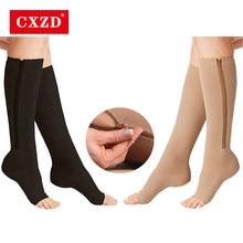Cxzd meias de compressão unissex, meias de compressão justas feitas com zíper e antifadiga meias unissex