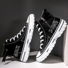 2019 new Korean men's shoes canvas shoes wild men's casual trend high-top shoes autumn to help tide shoes