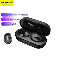 AWEI T16 TWS Ear buds Wireless Charging Earphones Auto Connect Bluetooth Headphone for Xiaomi Redmi Huawei iPhone