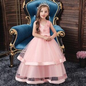 Коллекция 2019 года, Детские вечерние длинные платья для маленьких детей праздничные Платья с цветочным узором для девочек на свадьбу, день р...