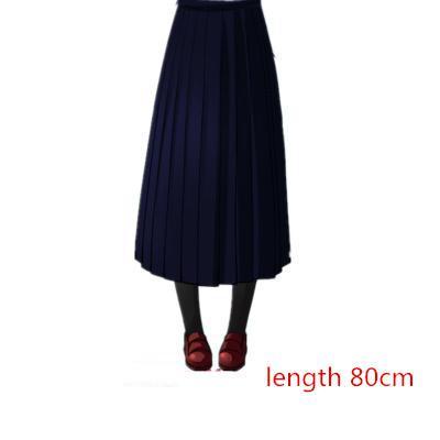 Японская школьная форма для девочек, регулируемая однотонная плиссированная юбка, 90 см, Jk, черный, темно-синий цвет, для старшеклассников, для студентов, в школьном стиле - Цвет: navy skirt 80cm