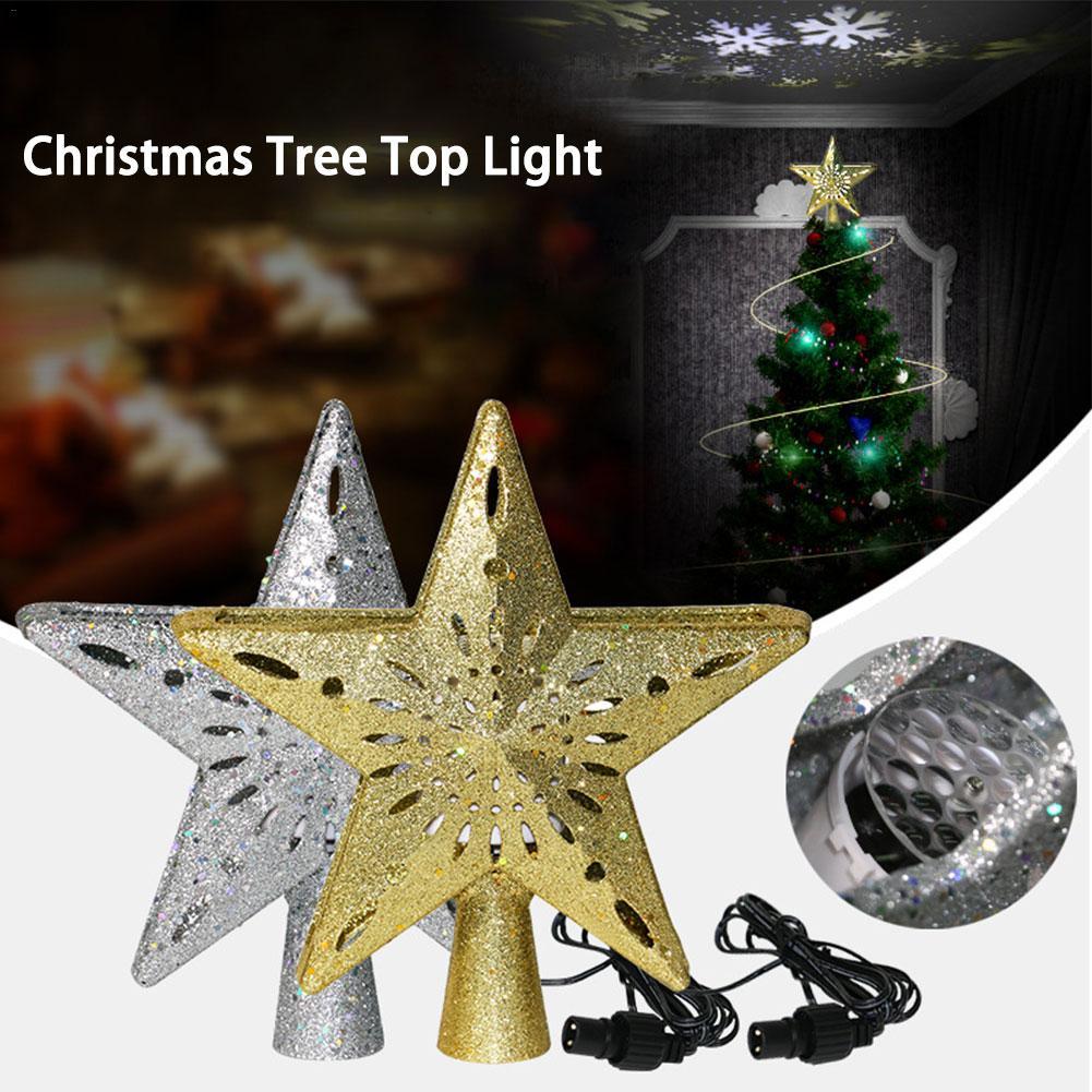 Lumières de arbre de noël LED avec la lumière tournante de Projection de flocon de neige Topper lumière pour l'ornement de pendentif de décoration d'arbre de noël