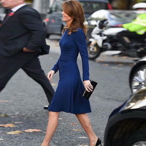 Image 5 - Cinto de manga longa slim para mulheres, vestido de banquete azul e slim para primavera 2020