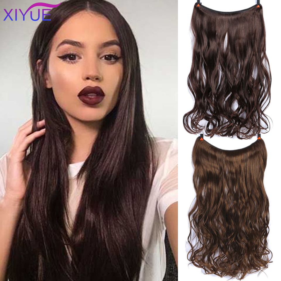 Long Straight/Curly Brown Light Brown Two-tone Natural Curly Hair Extensions Invisible Fish Line No Clips In Hair Extensions Hai