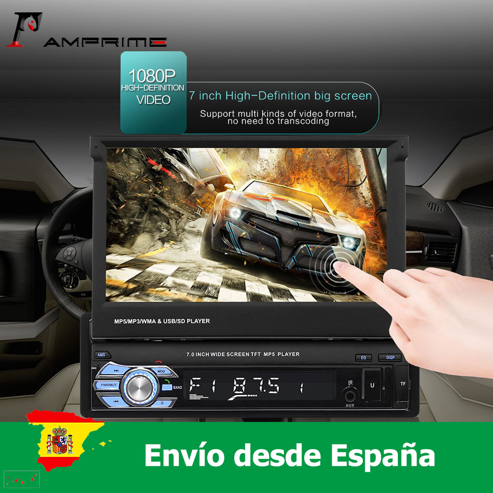 AMPrime Car Radio 1 Din 7'' HD Retractable Touch Screen Monitor DVD MP5 SD FM USB Player Rear View Camera