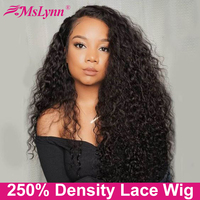250 Density Lace Wig Curly Human Hair Wig Lace Front Human Hair Wigs For Women Water Wave Wig Pre Plucked With Baby Hair Mslynn