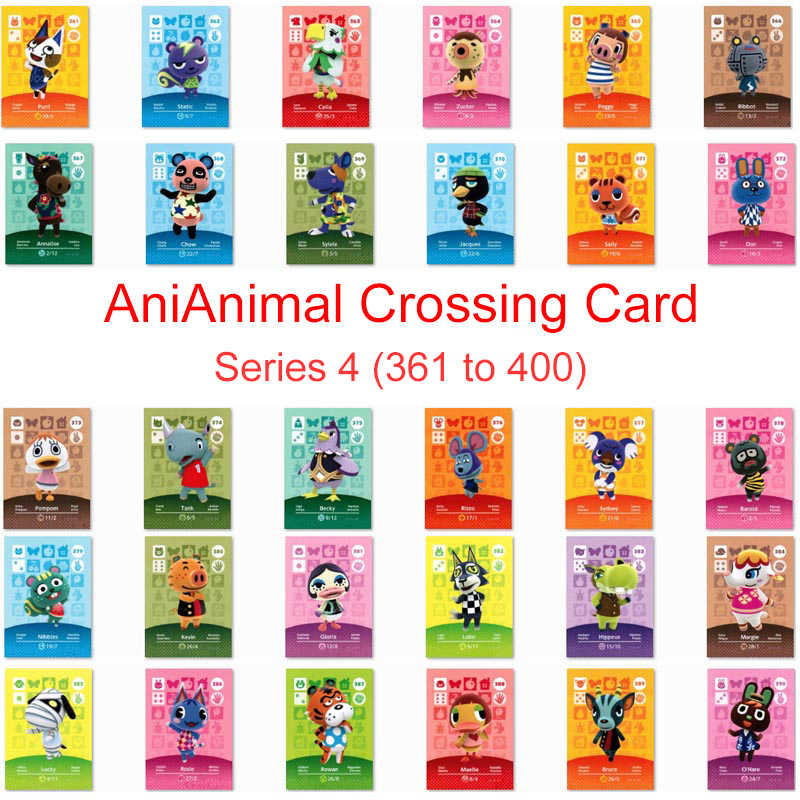 Serie 4 (361-400) animal Crossing Carta di Lavoro Della Carta per NS Amiibo 3DS Gioco Interruttore Nuovi Orizzonti Animal Crossing Amiibo Carta