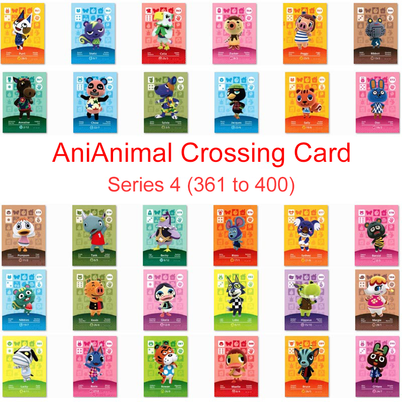 Series 4 (361 To 400) Animal Crossing Card Amiibo Card Work For NS 3DS Switch Game New Horizons Animal Crossing Amiibo Card