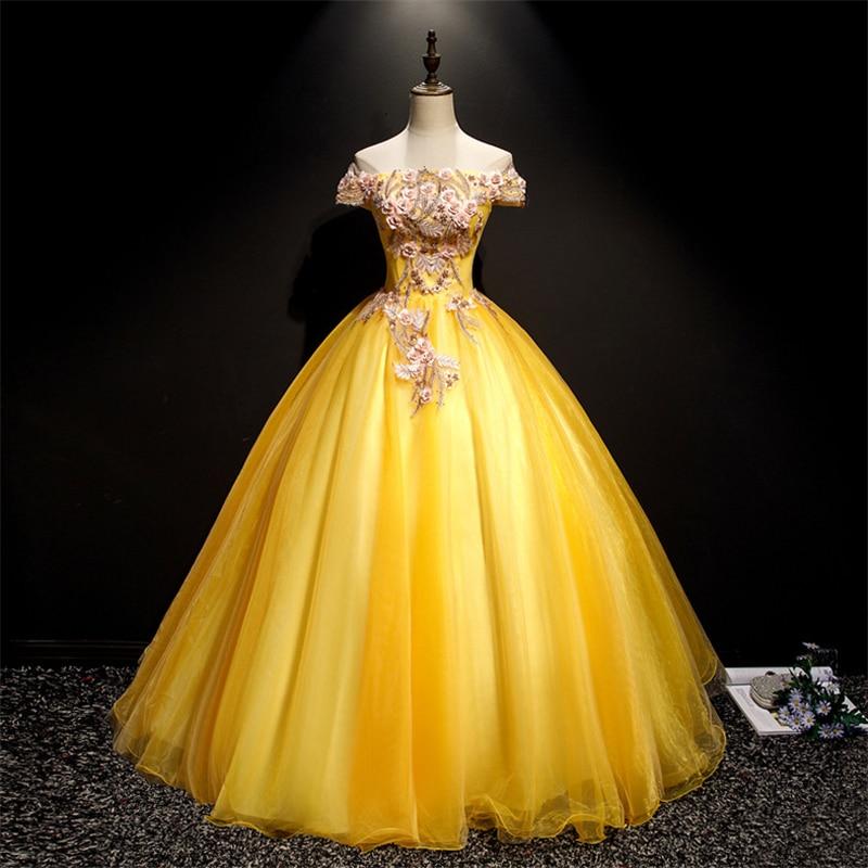 New 2020 Vestido De Noiva Quinceanera Dress Colored Fashion Off The Shoulder Applique Lace Princess Gowns For Paty Performance