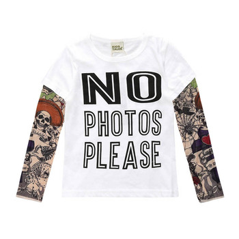Novelty Tattoo Kids Boys T-Shirts Cotton Long Sleeve Children T Shirt Spring Autumn Baby Girls Tee Shirts Children Clothes 1