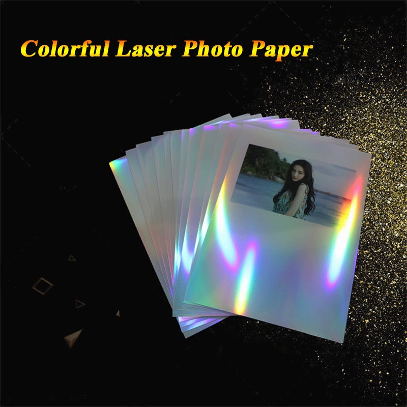 A4 Adhesive Seven Color Laser Photo Paper Ink Jet Printing Colorful Reflective Photographic Paper Silver Printing Film