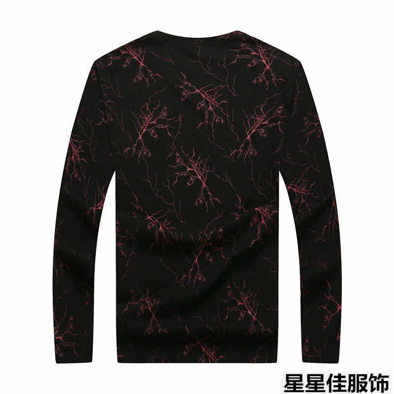 Plus rozmiar 8XL 7XL 6XL 5XL jakości z długim rękawem t-shirty mężczyźni znane marki odzież t-shirt z nadrukiem mężczyzna stretch Tshirt dla mężczyzn