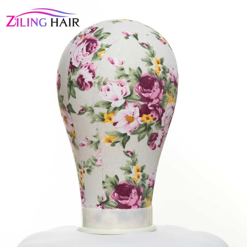Drukuj kwiat płótno pokryte blok manekin peruka stojak głowa 22 cali średni rozmiar używany do tworzenia peruk, kapelusz pończochy i wyświetlacz