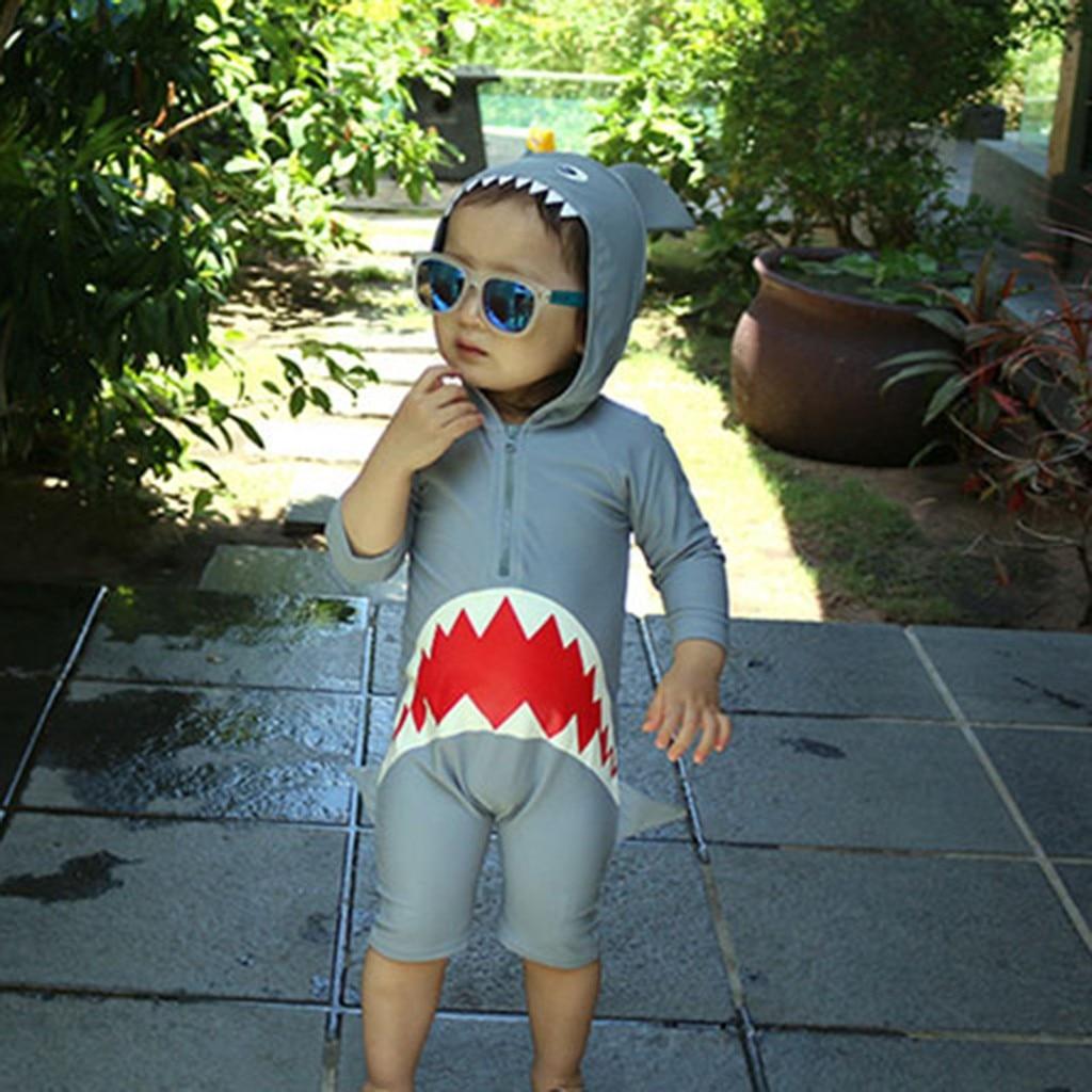 Crianças maiô crianças dos desenhos animados tubarão com capuz praia um pedaço maiô manter quente de uma peça mangas compridas proteção uv banho