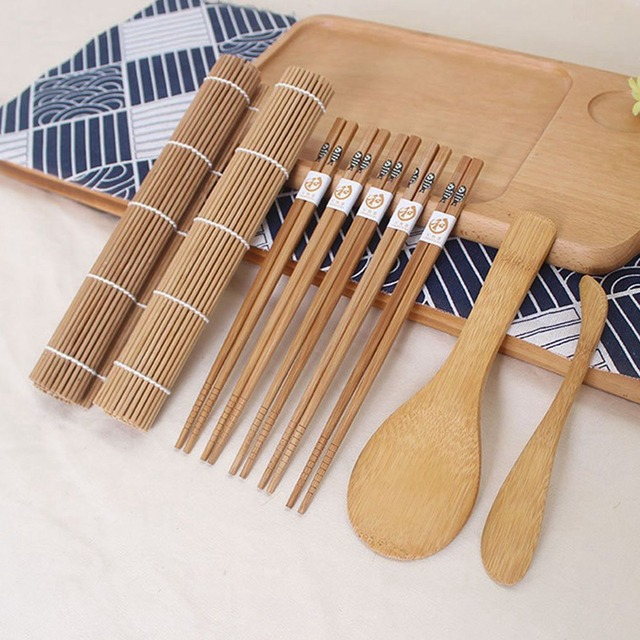9pcs/set Sushi Mat Bamboo Knife Rice Spoon Chopsticks Sushi Maker Set Rice Mold Kitchen Sushi Mold Cooking Tool 1