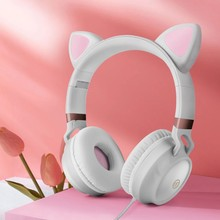 New Arrival Cute Cat Ears Headphones Wired Gaming Headset 3.5mm AUX Foldable With Mic Best Gift For kids adults