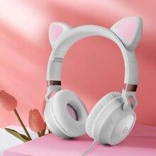 Nova chegada bonito orelhas de gato fones com fio gaming headset 3.5mm aux dobrável com microfone melhor presente para crianças adultos