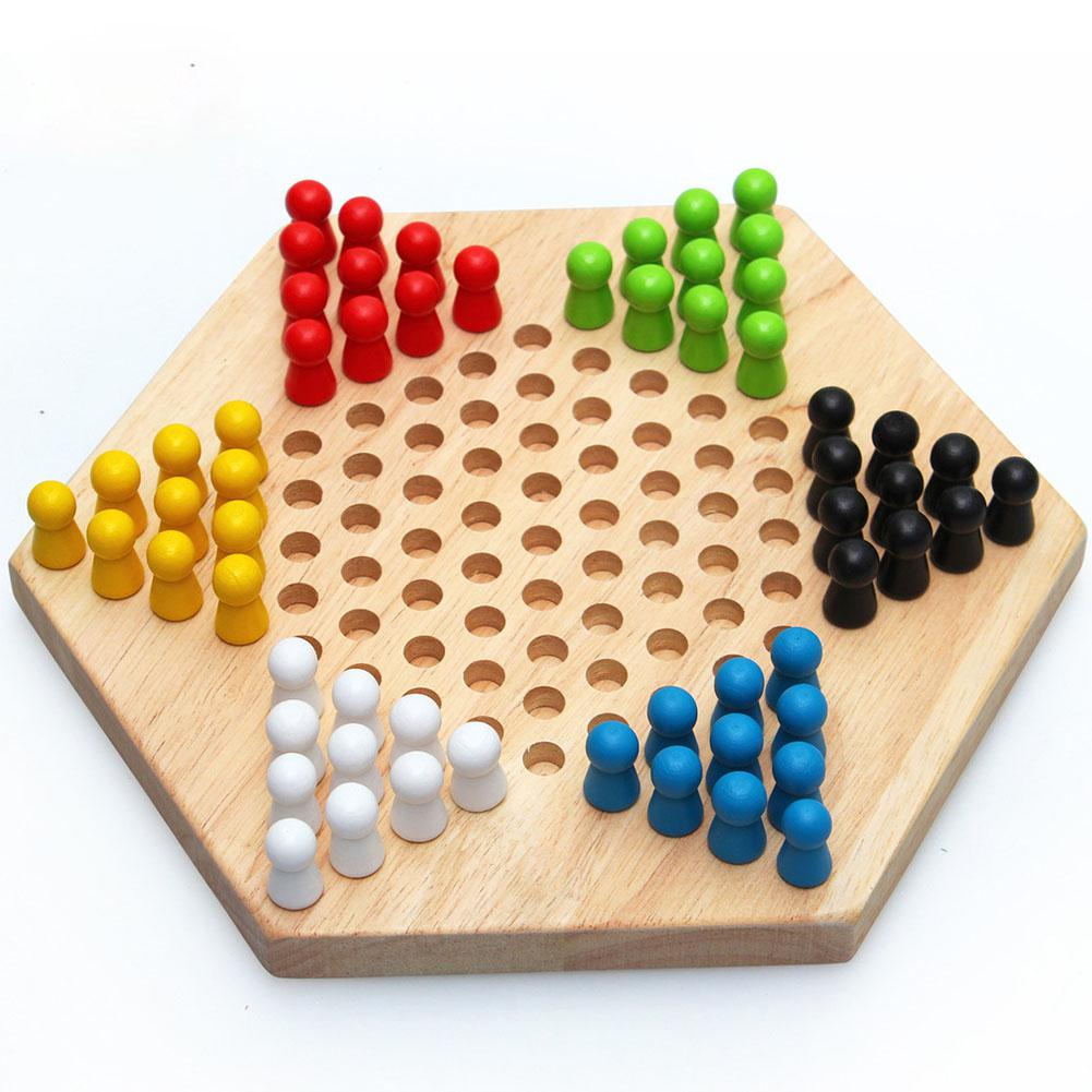 Hobbylane Children Early Education Wood Checkers Traditional Hexagon Chinese Checkers Family Game Set