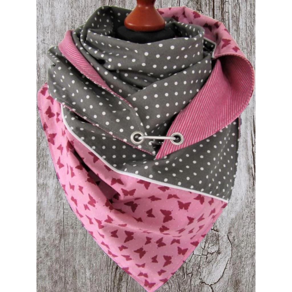 Women Warm Scarves Print Button Soft Wrap Casual Shawls cashmere Triangle scarf poncho echarpe hiver femme шарф зимний A40
