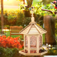 Wooden Bird Feeder House Birdhouse Hanging Nest Feeder With Roof Home Garden Yard Decoration Outdoor Pet Decors#15(China)