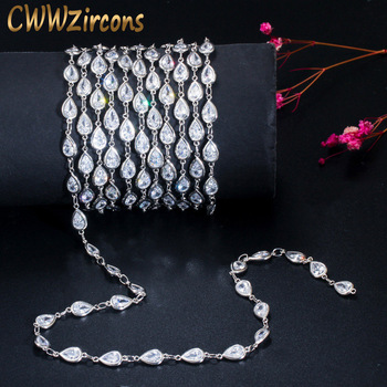 CWWZircons 50cm Handmade Shiny Cubic Zirconia Bead Long Necklace Bracelet Anklet Link Chain for DIY Jewelry Making Material D004 cwwzircons long water drop cubic zirconia stone big vintage royal wedding necklace and earring jewelry set for brides t205