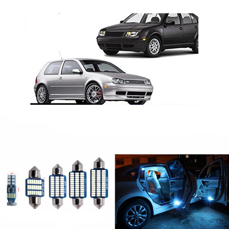 15pcs Canbus <font><b>LED</b></font> Bulb For 1999-2004 Volkswagen VW MK4 <font><b>Golf</b></font> <font><b>4</b></font> GTI <font><b>LED</b></font> Interior <font><b>Lights</b></font> Accessories Replacement Package Kit White image