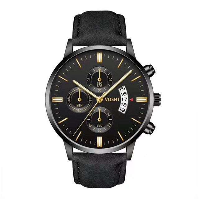 Simple Sport Stainless Steel Case Leather Band Watch