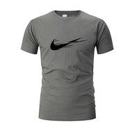 2020 Men jogging Sport Training Cotton T-shirt Short Sleeve Male Casual shirts Man Gym Running Fitness print Tee Tops Clothing
