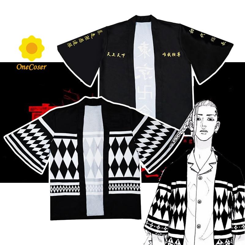 Tokyo Revengers Cosplay Cloak Anime Black White Top for Summer Hanagaki Takemichi Ken Ryuguji Haori Kimono Tee Men Short-sleeve