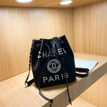 2021 New Fashion Pearl Bucket Bag Large Capacity Original Logo Women's Trend One Shoulder Straddle Drawstring Bag