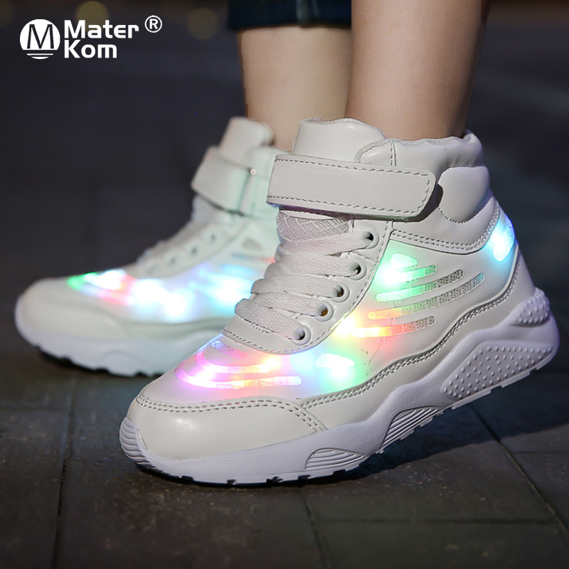 Size 25-36 Children LED Shoes Girls Boys Sneakers With Light Kids Lighted Shoes USB Charging Glowing Sneakers With Luminous Sole