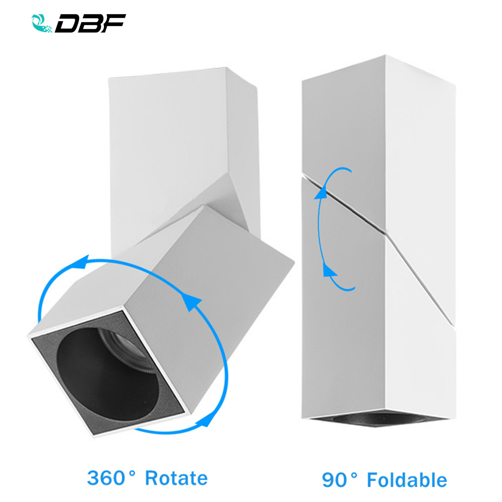 [DBF]360 Rotatable 90 Foldable Surface Mounted Ceiling Downlight 10W 12W 15W LED Ceiling Spot Lamp For Kitchen Living Room Decor
