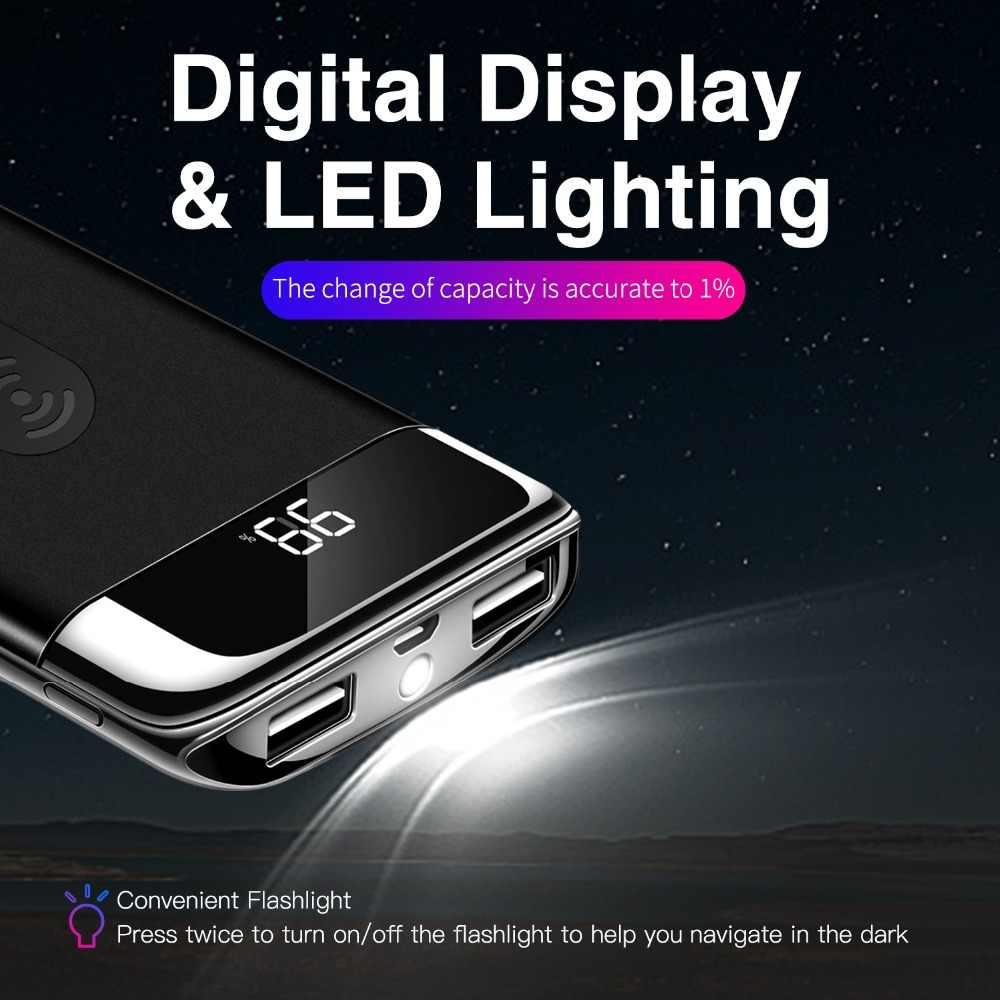 Banco de energía de 30000mah, Banco de batería externo con cargador inalámbrico incorporado, Banco de energía portátil QI, cargador inalámbrico para iPhone XS Max 8
