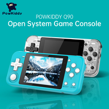 """POWKIDDY Q90 açık çift sistemi el Retro oyun konsolu 3 """"HD IPS ekran çocuklar hediye 16 simülatörü destek PS1 yeni oyun 3D oyunları"""