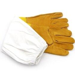 Para pszczoła rękawice ochronne rękawice pszczelarskie koziej skóry pszczelarstwo wentylowane długie rękawy sprzęt pszczelarski i Toolsd38 w Rękawice do użytku domowego od Dom i ogród na