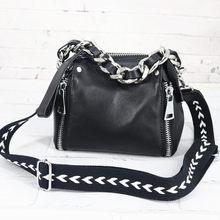 Luxus Mode Handtaschen Frauen Taschen Breite Schulter Gurt Starke Kette Hand Taschen Aus Echtem Leder Schulter Crossbody Schwarz Weiblichen Beutel