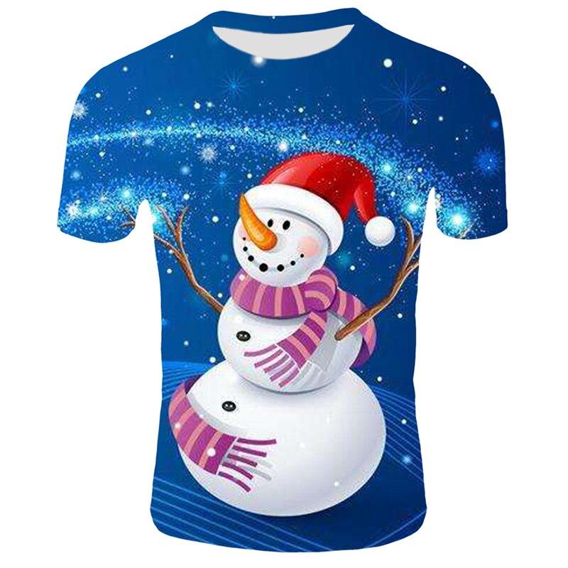Модные футболки с рождественским узором, мужские Забавные футболки с принтом Санта-Клауса, повседневные 3d футболки, вечерние футболки со снеговиком, одежда с коротким рукавом - Цвет: T15
