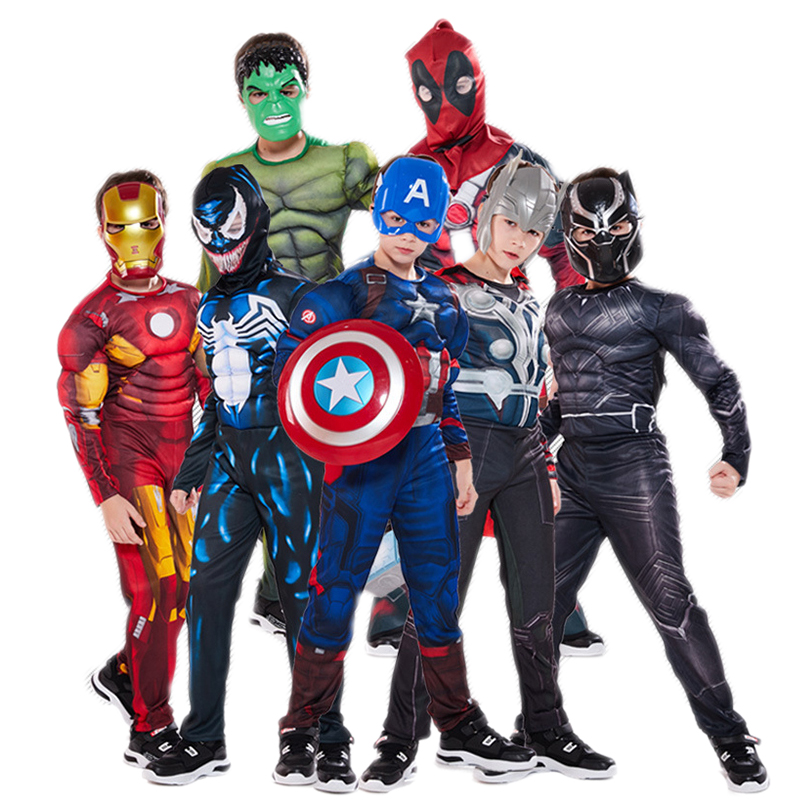 Child Superhero Cosplay Muscle Costume Spider Boy Long Sleeve Zipper Jumpsuit Movie Fantasy Halloween Orgy Christmas Kids Gift