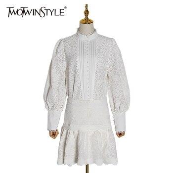 TWOTWINSTYLE, комплект из двух предметов для женщин, рубашки с длинным рукавом и фонариком, юбки с высокой талией, женский костюм, осенняя мода, нов...