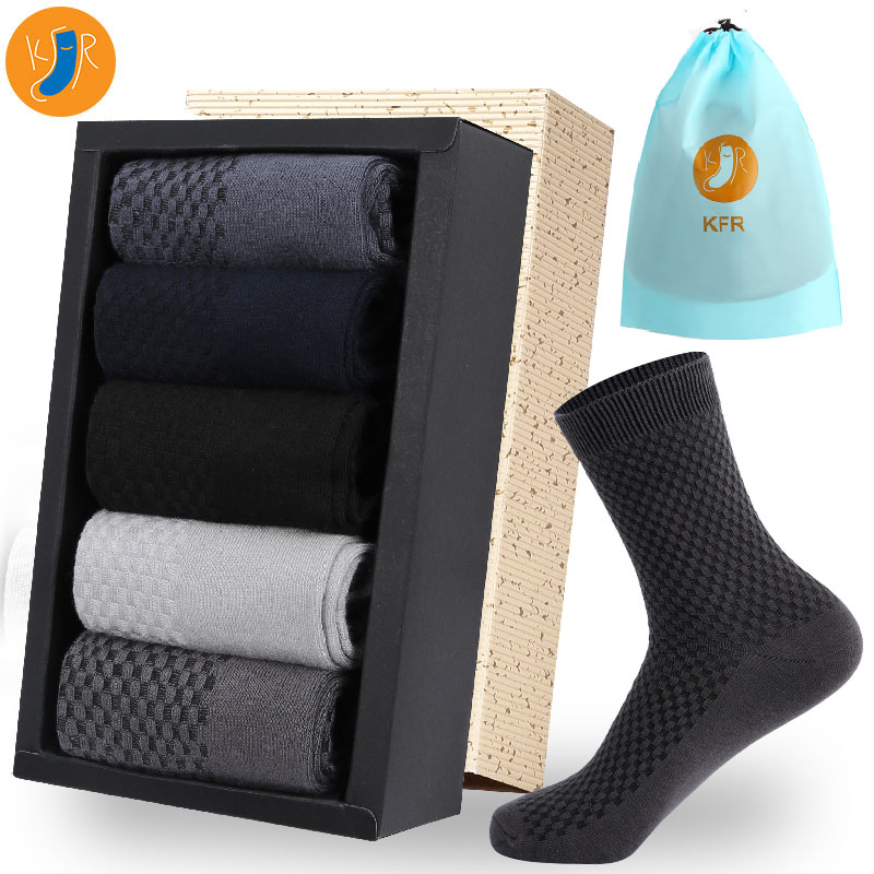 10Pairs/Lot Bamboo Fiber Socks Men Casual Business Anti-Bacterial Deodorant Breatheable Man Short Long Sock EUR39-45 Compression