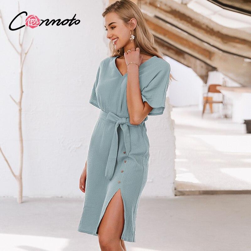 Conmoto Summer 2020 Beach Solid Blue Dresses Casual Sash Button Mid Dresses Women Dress Femme Robe Slit Dresses Vestidos