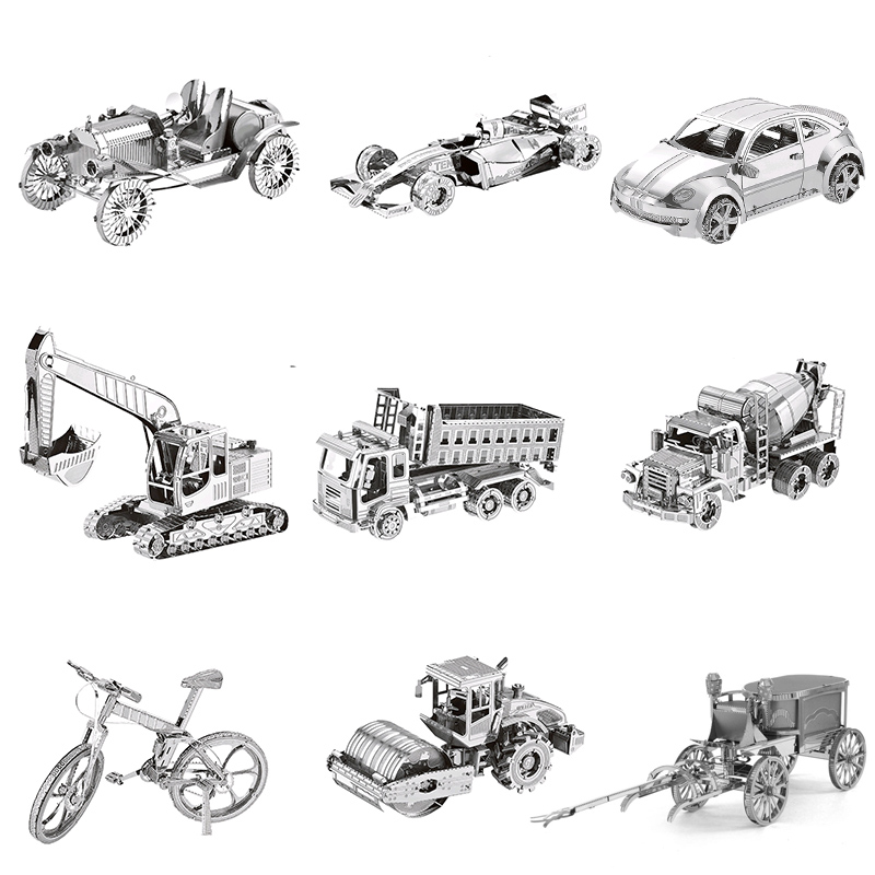 Jigsaw Puzzle Car 10 Types Of 3D Metal DIY Stainless Steel Model Assembly Kit Adult Jigsaw Collection Education