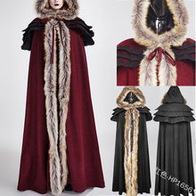 Medieval Vintage Winter Faux Fur Long Hooded Cloak For Women Warm Snow White Gown Maxi Bridal Wedding Capes Coat(China)